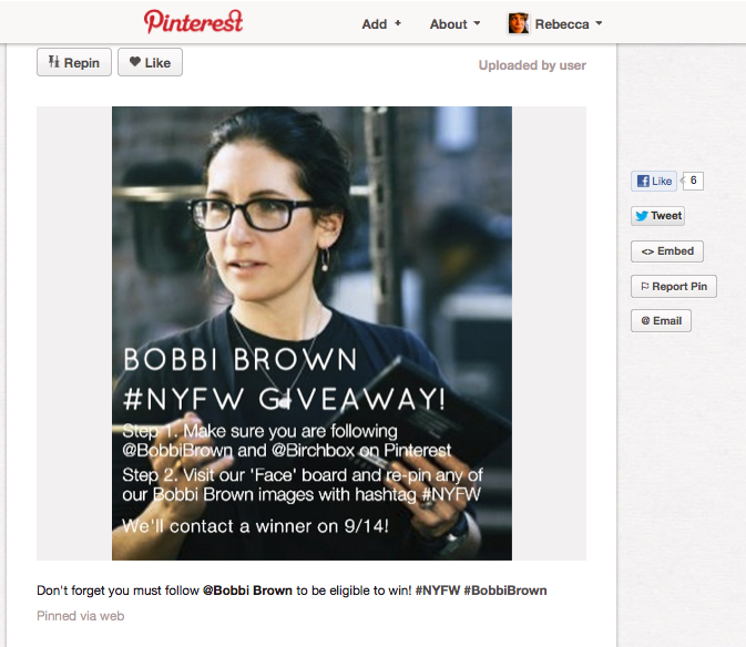 Screen shot 2012 09 08 at 7.30.22 AM Examples of How Businesses are Running Contests on Pinterest and Instagram